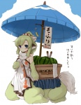 1girl 7010 animal_ears bare_shoulders blue_eyes centauroid food forest_of_pixiv fruit green_hair monster_girl simple_background solo translation_request umbrella watermelon white_background