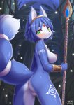 1girl animal_ear_fluff animal_ears anus artist_name ass back blue_hair blue_skin blush breasts circlet closed_mouth fox_ears fox_tail from_behind fur furry green_eyes highres holding holding_staff holding_weapon jewelry krystal looking_at_viewer looking_back medium_breasts night nipples nude outdoors pendant pussy short_hair shoulder_tattoo staff standing star_fox tail tattoo thigh_tattoo twisted_torso weapon wolflong