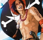 1boy black_hair freckles hat jolly_roger lily_(artist) lowres male_focus one_piece portgas_d_ace shirtless solo tattoo whitebeard_pirates