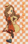 1girl ;) blush_stickers brown_hair catriel_layton character_name checkered checkered_background dress green_eyes hairband hat lady_layton leggings long_hair mini_hat mini_top_hat nishizawa_ichiya one_eye_closed professor_layton smile solo top_hat twitter_username