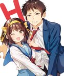 1boy 1girl :d bangs blue_jacket blue_sailor_collar blue_skirt blurry blurry_background blush brown_eyes brown_hair brown_pants clenched_teeth collared_shirt commentary_request depth_of_field eyebrows_visible_through_hair hair_ribbon hairband highres holding jacket kita_high_school_uniform kyon long_sleeves looking_at_viewer mery_(apfl0515) neckerchief necktie necktie_grab neckwear_grab one_eye_closed open_clothes open_jacket open_mouth orange_hairband pants red_neckwear ribbon round_teeth sailor_collar school_uniform serafuku shiny shiny_hair shirt short_hair signature simple_background skirt smile standing suzumiya_haruhi suzumiya_haruhi_no_yuuutsu sweatdrop teeth upper_body white_background white_shirt wing_collar yellow_hairband yellow_ribbon