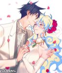 +_+ 1boy 1girl artist_name bare_shoulders blue_hair blush bow bowtie bride cloud_hair couple crying crying_with_eyes_open dress earrings elbow_gloves flower formal gearous gem gloves groom hair_between_eyes hair_flower hair_ornament hand_on_shoulder happy hetero husband_and_wife interlocked_fingers jewelry long_hair nia_teppelin parted_lips petals red_flower red_rose rose rose_petals short_hair simon sleeveless sleeveless_dress smile suit symbol-shaped_pupils tears tengen_toppa_gurren_lagann tuxedo veil very_long_hair watermark wedding white_background white_dress white_gloves white_suit
