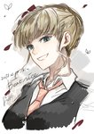 1girl beatrice blonde_hair blue_eyes bug butterfly character_name dated grin highres insect necktie short_hair sketch smile sofy solo umineko_no_naku_koro_ni vest