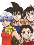 1girl 3boys black_eyes black_hair blue_eyes blue_hair bulma commentary_request dragon_ball dragon_ball_z dress earrings happy jewelry kerchief kuririn looking_at_viewer multiple_boys red_dress red_shirt scar shirt short_hair simple_background smile son_gokuu v white_background wristband yamcha