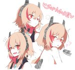 1girl absurdres bandana bangs bare_arms bare_shoulders black_tank_top blush breasts commentary_request eyebrows_visible_through_hair fang flustered girls_frontline gloves hair_between_eyes headgear highres long_hair looking_at_viewer m4_sopmod_ii_(girls_frontline) multicolored_hair multiple_views nyang_meow open_mouth pink_hair pout red_eyes red_hair solo streaked_hair tsundere
