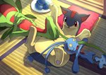 commentary_request dish food fruit gen_2_pokemon gen_3_pokemon gen_4_pokemon grovyle indoors karamimame lying manaphy no_humans open_mouth oran_berry pillow pokemon pokemon_(creature) quilava sleeping sleeping_on_person tatami