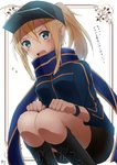 1girl artoria_pendragon_(all) black_footwear black_hat black_shorts blonde_hair blue_eyes blue_jacket blue_scarf blush boots enokimo_me fate/grand_order fate_(series) flying_sweatdrops hair_between_eyes hat high_ponytail highres jacket knee_boots long_hair looking_at_viewer mysterious_heroine_x open_mouth scarf short_shorts shorts sidelocks solo squatting white_background wristband