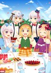 6+girls :d ^_^ abigail_williams_(fate/grand_order) absurdres alternate_costume apron bangs bare_shoulders beret blonde_hair blue_bow blue_dress blue_hat blue_skirt blue_sky blueberry blush blush_stickers bow brown_eyes bush butter center_frills checkerboard_cookie closed_eyes cloud collarbone collared_shirt commentary_request cookie crop_top cup day detached_sleeves dress dress_shirt drinking_glass eyebrows_visible_through_hair facial_mark fang fang_out fate/extra fate/grand_order fate_(series) flower food forehead forehead_mark fork frills fruit green_bow green_eyes green_hat green_ribbon green_vest hair_between_eyes hair_bow hands_up hat headpiece highres holding holding_cup holding_fork holding_knife horns ibaraki_douji_(fate/grand_order) jack_the_ripper_(fate/apocrypha) jeanne_d'arc_(fate)_(all) jeanne_d'arc_alter_santa_lily jitome juliet_sleeves knife long_hair long_sleeves looking_at_another looking_at_viewer macaron midriff milk mini_hat mini_top_hat moyashi_(momoyashi_321) multiple_girls nursery_rhyme_(fate/extra) oni oni_horns open_mouth outdoors pancake parted_bangs parted_lips paul_bunyan_(fate/grand_order) petals pink_shirt plaid plaid_skirt polka_dot polka_dot_bow puffy_short_sleeves puffy_sleeves purple_bow purple_dress purple_hat red_bow red_flower red_ribbon red_rose red_skirt ribbon rose rose_bush saucer shirt short_sleeves silver_hair skirt sky sleeves_past_fingers sleeves_past_wrists smile stack_of_pancakes strapless strapless_dress strawberry striped striped_bow striped_ribbon suspender_skirt suspenders syrup table teacup teapot tiered_tray top_hat unmoving_pattern upper_teeth very_long_hair vest white_apron white_flower white_rose white_shirt yellow_shirt