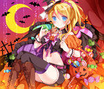 1girl ayase_eli bat bat_wings black_legwear blonde_hair blue_eyes candy candy_cane crescent crescent_moon cross detached_collar halloween hat holding jack-o'-lantern lollipop long_hair looking_at_viewer love_live!_school_idol_project mog_(artist) moon navel ponytail sitting smile solo thighhighs wings witch_hat wrist_cuffs