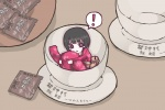 ! 1girl bad_id bad_pixiv_id black_hair chibi cup fatal_frame fatal_frame_2 in_container in_cup japanese_clothes kimono minigirl rattle short_hair solo tachibana_chitose tea tears vader_(n.r.t.a.)