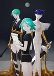 3others absurdres androgynous aqua_eyes aqua_hair bangs blue_eyes blue_hair blunt_bangs clipboard colored_eyelashes crystal_hair earth gem_uniform_(houseki_no_kuni) gold golden_arms green_eyes green_hair heterochromia highres houseki_no_kuni looking_at_viewer looking_back multiple_others multiple_persona mydeerwitch necktie phosphophyllite phosphophyllite_(ll) see-through_sleeves short_hair sky smile spoilers star_(sky) starry_sky sword weapon white_eyes white_skin
