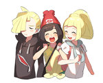 1boy 2girls arm_hug backpack bag beanie black_hair blonde_hair brother_and_sister closed_eyes gladio_(pokemon) hair_over_one_eye hat hood hoodie lillie_(pokemon) long_hair long_sleeves mizuki_(pokemon) multiple_girls open_mouth pokemon pokemon_(game) pokemon_sm ponytail red_headwear shirt short_hair short_sleeves siblings simple_background tied_shirt torn_clothes unapoppo white_background white_shirt z-ring