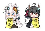2girls :d ahoge animal_ears bailingxiao_jiu bangs bell black_bow black_jacket black_legwear blue_eyes blue_ribbon blush bow braid canvas_(object) chibi commentary demon_girl demon_horns demon_tail eyebrows_visible_through_hair fang fox_mask glasses glowing hair_bell hair_between_eyes hair_bow hair_ornament hair_ribbon heart heart-shaped_pupils holding holding_sign horns jacket jingle_bell lantern long_hair long_sleeves looking_at_viewer mask multiple_girls no_shoes open_clothes open_jacket open_mouth original paintbrush pantyhose parted_lips red-framed_eyewear red_eyes red_ribbon ribbon semi-rimless_eyewear sidelocks sign silver_hair simple_background sitting sleeves_past_wrists smile sparkle symbol-shaped_pupils tail thighhighs translated under-rim_eyewear very_long_hair wariza white_background white_legwear wolf_ears wolf_girl wolf_tail
