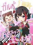 2girls :d ? anniversary armlet arms_up bang_dream! black_hair black_kimono blue_flower bow brown_hair closed_eyes commentary_request elbow_gloves floral_print flower gloves glowstick hair_bow hair_bun hair_flower hair_ornament hair_stick holding japanese_clothes kimono looking_at_viewer mitake_ran multicolored_hair multiple_girls open_mouth purple_eyes red_flower red_hair short_hair smile star streaked_hair striped striped_bow toto_nemigi toyama_kasumi translation_request v-shaped_eyebrows white_flower white_gloves