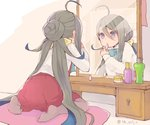1girl ahoge applying_makeup blue_bow blue_hair bottle bow bowtie colis commentary_request cushion full_body grey_eyes grey_hair grey_legwear hair_between_eyes hair_bun kantai_collection kiyoshimo_(kantai_collection) lipstick lipstick_tube long_hair long_sleeves looking_at_mirror low_twintails makeup mirror multicolored_hair pantyhose reflection school_uniform shirt sitting solo twintails twitter_username vanity_table very_long_hair wariza white_shirt