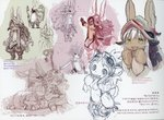 1boy 3girls animal_ears blush breasts bunny_ears eyebrows_visible_through_hair furry glasses goggles goggles_on_head helmet highres long_hair made_in_abyss medium_breasts mitty_(made_in_abyss) mitty_(made_in_abyss)_(furry) mitty_(made_in_abyss)_(human) multiple_girls nanachi_(made_in_abyss) open_mouth partially_colored regu_(made_in_abyss) riko_(made_in_abyss) scan short_hair sketch smile translation_request tsukushi_akihito white_hair yellow_eyes