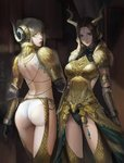 2girls armlet ass back backless_outfit blonde_hair breastplate circlet elbow_pads gloves green_eyes horned_headwear horns jewelry kulve_taroth_(armor) leotard_under_clothes looking_at_viewer looking_back medium_hair monster_hunter monster_hunter:_world multiple_girls parted_lips phamoz ponytail smile yellow_eyes