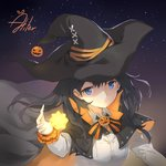 1girl aliter bangs black_cape black_headwear blue_eyes bow breasts cape closed_mouth collared_shirt commentary_request eyebrows_visible_through_hair glowing hair_between_eyes halloween hand_up hat highres jack-o'-lantern long_sleeves looking_at_viewer medium_breasts multicolored multicolored_cape multicolored_clothes night night_sky orange_cape original shirt signature sky solo star_(sky) starry_sky striped striped_bow upper_body white_shirt witch_hat