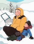 2boys blush boots coat commentary eyebrows facial_hair fat fat_man full_body hat looking_at_another male_focus multiple_boys original outdoors scarf snow stubble taremayuzou uncle_and_nephew winter
