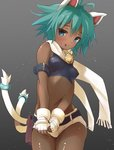 1girl animal_ears anshinmama antenna_hair aqua_eyes aqua_hair arm_belt bell belt beryl_(shinrabanshou) blue_eyes blush cat_ears cat_tail dark_skin fang fingerless_gloves gloves green_hair looking_at_viewer midriff navel open_mouth scarf shinrabanshou short_hair short_shorts shorts solo standing tail white_gloves white_scarf