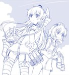 2girls amagai_tarou amatsukaze_(kantai_collection) bangs binoculars blue_theme breasts choker closed_mouth cloud cloudy_sky commentary_request day dutch_angle garter_straps hatching_(texture) holding holding_binoculars kantai_collection long_hair long_sleeves looking_afar monochrome multiple_girls outdoors petite rigging sailor_collar sketch sky small_breasts standing thighhighs v-shaped_eyebrows very_long_hair yukikaze_(kantai_collection)