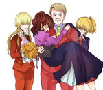 2boys 2girls blonde_hair blue_eyes bouquet brown_hair carrying closed_eyes cravat earrings family flower jewelry multiple_boys multiple_girls necktie ponytail princess_carry rose side_ponytail smile tsutsui umineko_no_naku_koro_ni ushiromiya_jessica ushiromiya_krauss ushiromiya_lion ushiromiya_natsuhi yellow_rose