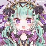 1girl :o aqua_hair astaroth_(p&d) blush bow collarbone demon_girl demon_horns fangs frilled_sleeves frills hairband holding_hair horns long_hair long_sleeves marshmallow_mille purple_background purple_bow purple_eyes puzzle_&_dragons simple_background solo twintails twitter_username upper_body