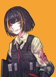 1girl alternate_hairstyle assault_rifle black_hair blonde_hair blood blood_on_face bloody_clothes brown_eyes bulletproof_vest echj elbow_pads eyepatch girls_frontline gun highres injury m16 m16a1_(girls_frontline) multicolored_hair necktie one_eye_closed open_mouth pouch rifle scratches short_hair simple_background solo streaked_hair torn_clothes weapon yellow_background