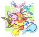 blue_eyes brown_eyes closed_eyes eevee espeon flareon glaceon jolteon leafeon no_humans one_eye_closed open_mouth pink_eyes pokemon pokemon_(creature) purple_eyes red_eyes smile sylveon tail tongue tongue_out triangle_mouth umbreon vaporeon wataametulip