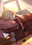 1girl aliter apple_inc. blonde_hair blue_eyes blush cellphone commentary_request computer couch curtains danganronpa drooling dutch_angle eyebrows_visible_through_hair frilled_pillow frills gabriel_dropout headphones highres indoors jacket laptop lens_flare long_hair long_sleeves lying monokuma on_stomach one_eye_closed open_mouth phone pillow smartphone solo star star_print sunlight tenma_gabriel_white tile_floor tiles track_jacket usb window