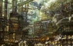 building city city_lights cityscape dark fantasy highres munashichi no_humans original pipes scenery stairs steam