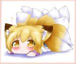 1girl :< ? animal_ear_fluff animal_ears blonde_hair blush border bright_pupils chibi commentary dress eyebrows_visible_through_hair fox_ears fox_tail hair_between_eyes looking_at_viewer lying multiple_tails no_hat no_headwear on_stomach pink_border shadow short_hair solo tail touhou white_background white_dress white_pupils yairenko yakumo_ran yellow_eyes