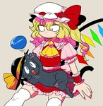 1girl animalization ascot black_headwear blonde_hair blue_eyes cat fang fingernails flandre_scarlet frown furukawa_(yomawari) hat hat_ribbon highres komeiji_koishi komeiji_koishi_(cat) long_fingernails long_hair looking_at_another looking_down mob_cap nail_polish on_lap one_eye_closed open_mouth puffy_short_sleeves puffy_sleeves red_eyes red_nails red_ribbon ribbon short_sleeves sitting tail tan_background thighhighs third_eye touhou whiskers white_headwear white_legwear wings yellow_ribbon