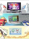 arceus braixen building celebi closed_eyes comic commentary controller english_commentary english_text formal glasses groudon highres komanychi kyogre latias latios legendary_pokemon microphone musical_note necktie news nintendo_switch pokemon primal_groudon primal_kyogre rayquaza remote_control rock silent_comic sleeping star storm_cloud suit sun television v victini water zzz