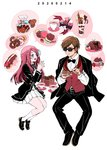 1boy 1girl belt black_footwear black_jacket black_neckwear black_pants blue_eyes bow bowtie brown_hair cake chewing collared_shirt commentary cup da_huang dated doughnut eating english_commentary food fork full_body gift_bag jacket long_hair long_sleeves looking_at_another macaron minamoto_sakura miniskirt open_mouth pants pleated_skirt red_hair red_vest shirt shoes short_hair simple_background sitting skirt smile socks speech_bubble sunglasses tatsumi_koutarou teacup vest white_background zombie_land_saga
