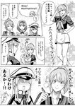 5girls :d ^_^ ^o^ aquila_(kantai_collection) area_88 ark_royal_(kantai_collection) capelet closed_eyes comic commentary gambier_bay_(kantai_collection) graf_zeppelin_(kantai_collection) greyscale hair_between_eyes hairband hat high_ponytail highres intrepid_(kantai_collection) kantai_collection long_hair long_sleeves military military_uniform monochrome multiple_girls munmu-san open_mouth peaked_cap ponytail shaded_face short_hair short_sleeves side_ponytail smile speech_bubble tiara translated twintails typo uniform