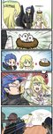 1other 2girls 3boys alfonse_(fire_emblem) belt bird bird_nest black_wings blonde_hair blue_eyes blue_hair brother_and_sister chiba_tsukasa circlet closed_eyes comic commentary_request dress earrings feathered_wings fire_emblem fire_emblem:_akatsuki_no_megami fire_emblem:_souen_no_kiseki fire_emblem_heroes fire_emblem_if from_behind gloves green_eyes hairband highres holding holding_staff hood hood_up jewelry leanne long_hair long_sleeves multiple_boys multiple_girls naesala open_mouth pink_hair reyson robe sakura_(fire_emblem_if) short_hair siblings staff summoner_(fire_emblem_heroes) white_wings wings