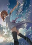 1girl black_legwear blue_eyes cloud cover dress ekusa_takahito game_cover hat highres higurashi_no_naku_koro_ni official_art orange_hair outstretched_arms ryuuguu_rena sky solo spread_arms thighhighs