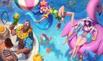 :d alternate_costume alternate_hair_color bare_arms bare_hips bare_shoulders barefoot beard beemo bikini bird bracelet breasts caitlyn_(league_of_legends) cleavage cleavage_cutout crab day duck eyewear_on_head facial_hair fish flat_chest flip-flops flower gangplank goggles green_eyes grill gun hair_flower hair_ornament hat heart heterochromia holding jewelry large_breasts league_of_legends lifebuoy lips long_hair lulu_(league_of_legends) lying multiple_boys multiple_girls navel one-piece_swimsuit open_mouth outdoors pool pool_party_caitlyn pool_party_gangplank pool_party_lulu pool_party_miss_fortune pool_party_ziggs pool_party_zoe purple_eyes purple_hair purple_skin red_hair ribbon rifle rift_scuttler sandals sarah_fortune smile sniper_rifle squid_hat sunglasses swimsuit teemo very_long_hair water water_gun weapon yordle ziggs zoe_(league_of_legends)