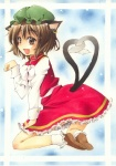 1girl animal_ears bad_id bad_pixiv_id bow bowtie brown_eyes brown_hair cat_ears cat_tail chen dress earrings fang hat heart heart_tail jewelry multiple_tails paw_pose shie_(m417) shoes socks solo tail touhou traditional_media