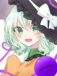 1girl :d bangs black_headwear blurry blurry_background blush bow commentary_request depth_of_field eringi_(rmrafrn) eyebrows_visible_through_hair frilled_hat frills green_eyes green_hair hair_between_eyes hand_up hat hat_bow heart heart_of_string koishi_day komeiji_koishi long_hair long_sleeves looking_at_viewer looking_to_the_side open_mouth orange_shirt shirt simple_background sleeves_past_fingers sleeves_past_wrists smile solo third_eye touhou upper_body white_background white_bow