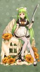 1girl animal_ears apron artist_name bangs black_footwear blunt_bangs brown_eyes cake cat_ears check_commentary commentary commentary_request flower food fruit full_body glint gloves green_background green_hair haneru high_heels highres icing long_hair looking_at_viewer maid_apron maid_headdress moegirlpedia-tan os-tan oversized_food oversized_object pantyhose scrunchie short_sleeves sitting smile snowflakes solo spoon strawberry very_long_hair white_gloves white_legwear wrist_scrunchie