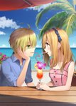 1boy 1girl ahoge beach blonde_hair blue_eyes blue_shirt blue_sky blurry blurry_background blush brown_hair cloud collared_shirt commentary_request couple cup drink drinking drinking_glass drinking_straw earrings eye_contact flower gladio_(pokemon) green_eyes hairband hand_on_own_cheek hetero highres horizon jewelry long_hair looking_at_another mizuki_(pokemon) ocean open_collar palm_tree pink_flower pink_tank_top pokemon pokemon_(game) pokemon_sm profile rupinesu shirt signature sky sleeveless table tank_top tree wing_collar