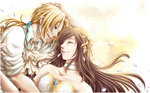 1boy 1girl blonde_hair brown_hair closed_eyes couple dress elbow_gloves final_fantasy final_fantasy_ix garnet_til_alexandros_xvii gloves hetero long_hair open_mouth rueme wedding_dress zidane_tribal