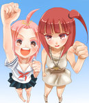 2girls armpit_peek bad_id bad_pixiv_id bare_legs barefoot blush clenched_hands creator_connection crossover dress fist_pump foreshortening highres kuzuryuu_momoko magi_the_labyrinth_of_magic morgiana multiple_girls nashigaya_koyomi pink_hair raised_fist red_hair school_uniform serafuku short_hair sumomomo_momomo