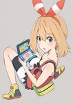 1girl :o bag bare_shoulders bike_shorts bike_shorts_under_shorts blush breasts cleavage commentary_request flipped_hair hairband handheld_game_console haruka_(pokemon) holding_handheld_game_console light_brown_hair medium_breasts nintendo_3ds open_mouth pokemon pokemon_(game) pokemon_oras s_sasaki_09140 short_hair shorts solo