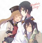 3girls arm_hug black_hair black_skirt brown_hair cape closed_eyes coat crook_morphus el_mofus_(rance_10) goggles goggles_around_neck green_eyes hat long_hair miton_(ton321) mother_and_daughter multiple_girls open_mouth rance_(series) rance_10 short_hair simple_background skirt twintails white_background