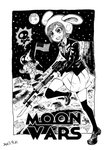 1girl american_flag animal_ears astronaut bayonet black_legwear blackcat_(pixiv) blazer brand_name_imitation bunny_ears clenched_teeth commentary_request crater death dress_shirt earth english_text formal gun helmet highres jacket loafers moon moon_(ornament) necktie reisen rifle running serious shirt shoes short_hair skirt skull_and_crossbones sky space star star_(sky) star_wars starry_sky suit sweatdrop teeth touhou v-shaped_eyebrows weapon