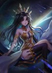 1girl absurdres armlet asymmetrical_legwear asymmetrical_sleeves bangs bare_shoulders black_hair closed_mouth comet commentary_request crown detached_collar earrings elbow_gloves fate/grand_order fate_(series) floating gloves heavenly_boat_maanna highres hoop_earrings ishtar_(fate/grand_order) jewelry long_hair looking_at_viewer navel parted_bangs red_eyes shooting_star single_elbow_glove single_thighhigh sitting sky star star_(sky) starry_sky thighhighs thighs tiara two_side_up yimoduo