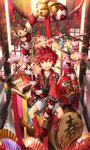 1boy bell cherry_blossoms daruma_doll drum elsword elsword_(character) fan holding instrument monkey obentou red_eyes red_hair rope scorpion5050 shiny sitting traditional_clothes